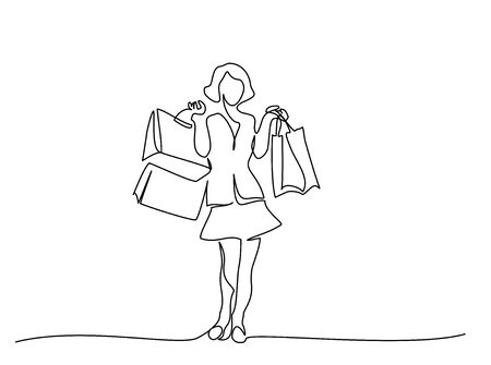 Happy young woman with shopping bags. Continuous One line drawing vector illustration