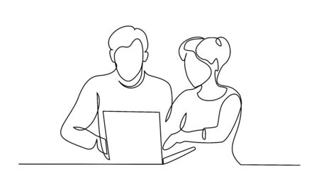 Group of business people work using notebook. Continuous one Line drawing. Vector illustration. Vettoriali