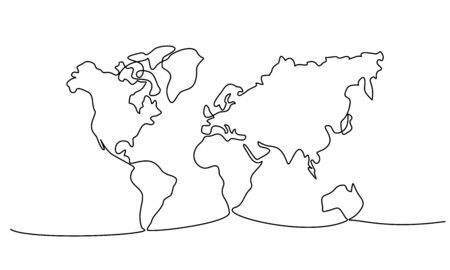 Continuous one line drawing of world map. Vector illustration.