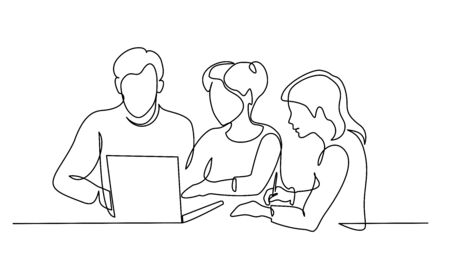 Group of business people work using notebook. Vettoriali