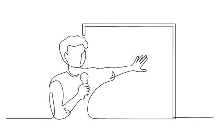 Continuous one line drawing. Young scientist presenter speaking with microphone near dashboard. Vector illustration Vettoriali