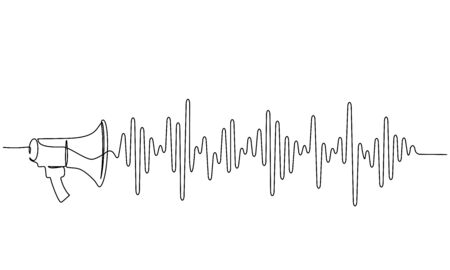 Megaphone, loudspeaker with sound wave. Continuous one line drawing. Vector illustration