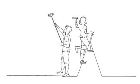 Couple man and woman painting the wall using roller stick. Continuous one line drawing. Vector illustration isolated on white background