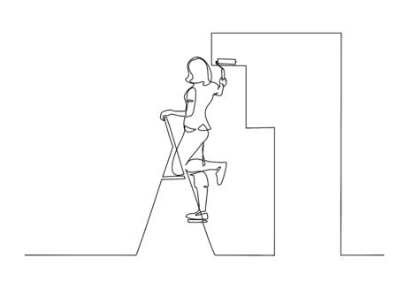 Woman painting wall using roller stick. Continuous one line drawing. Vector illustration isolated on white background