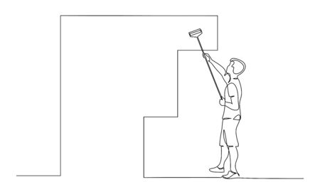 Man painting wall using roller stick. Continuous one line drawing. Vector illustration isolated on white background Vettoriali