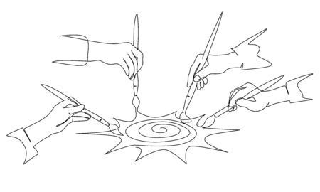 Four hands of people painting sun with paintbrush. Continuous one line drawing. Vector illustration isolated on white background