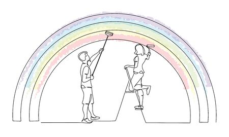 Couple man and woman painting the rainbow using roller stick. Continuous one line drawing. Vector illustration isolated on white background