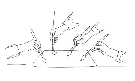 Four hands of people painting on paper with paintbrush. Continuous one line drawing. Vector illustration isolated on white background Vettoriali