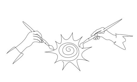 Two hands of people painting sun with paintbrush. Continuous one line drawing. Vector illustration isolated on white background