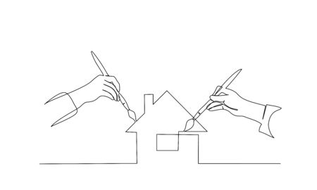 Two hands of people painting house with paintbrush. Continuous one line drawing. Vector illustration isolated on white background 일러스트