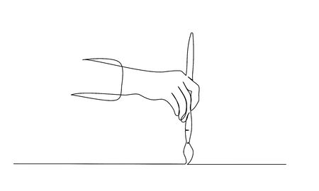 Hand holding paint brush and painting. Continuous one line drawing. Vector illustration isolated on white background