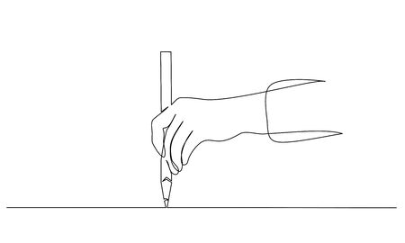 Hand holding pen, pencil and drawing. Continuous one line drawing. Vector illustration isolated on white background 版權商用圖片 - 147636746