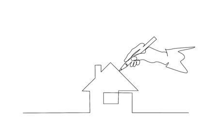 Hand of people painting house with paintbrush. Continuous one line drawing. Vector illustration isolated on white background