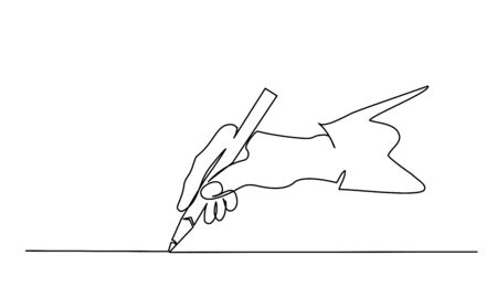 Hand holding pen, pencil and drawing. Continuous one line drawing. Vector illustration isolated on white background Vettoriali