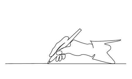 Hand holding pen, pencil and writing. Continuous one line drawing. Vector illustration isolated on white background