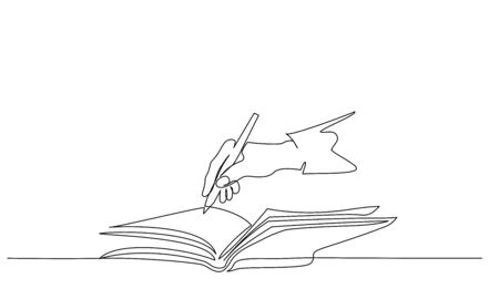 Hand holding pen and writing in book. Continuous one line drawing. Vector illustration isolated on white background