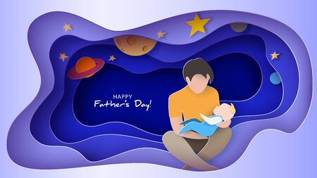 Young man with his baby dreaming at the night. Happy fathers day card. Paper cut style. Vector illustration Vettoriali