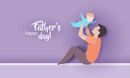 Young man with his baby playing. Happy fathers day card. Paper cut style. Vector illustration
