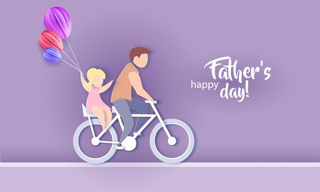 Young man with his daughter riding bicycle. Happy fathers day card. Paper cut style. Vector illustration