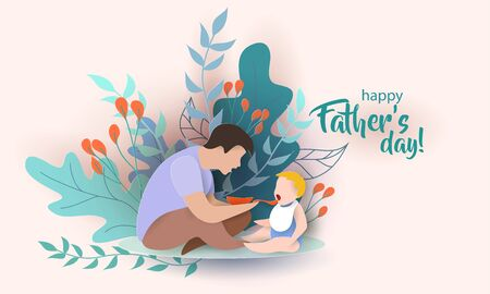Young man Father Feeding Baby with spoon. Happy fathers day card. Paper cut style. Vector illustration 版權商用圖片 - 148837581
