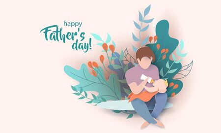 Young man Father Feeding Newborn Baby. Happy fathers day card. Paper cut style. Vector illustration 版權商用圖片 - 148838880