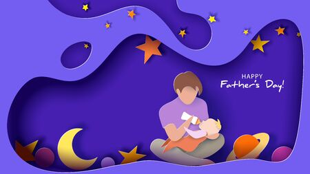 Young man Father Feeding Newborn Baby. Happy fathers day card. Paper cut style. Vector illustration