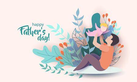 Jeune homme jouant avec son bébé. Carte de fête des pères heureux. Style de coupe de papier. Illustration vectorielle Vecteurs