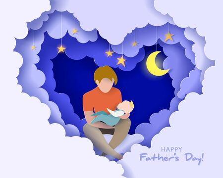 Young man with his baby dreaming at the night. Happy fathers day card. Paper cut style. Vector illustration
