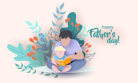 Young man with his baby son reading book. Happy fathers day card. Paper cut style. Vector illustration