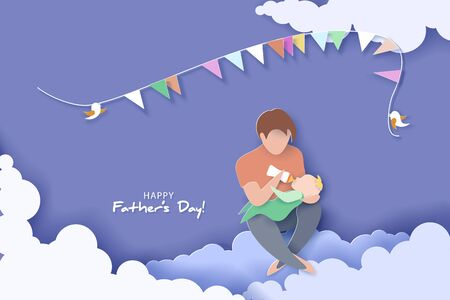 Young man Father Feeding Newborn Baby. Happy fathers day card.