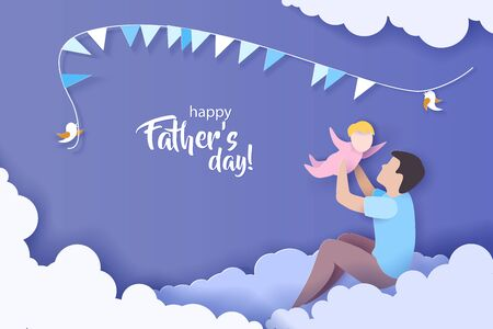 Young man with his baby playing. Happy fathers day card. Paper cut style. Vector illustration 版權商用圖片 - 149772651
