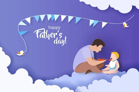 Young man Father Feeding Baby with spoon. Happy fathers day card. Paper cut style. Vector illustration