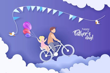Young man with his daughter riding bicycle. 版權商用圖片 - 149904665