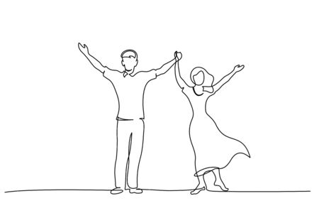 Continuous One line drawing. Happy couple standing and holding hands up together. Vector illustration