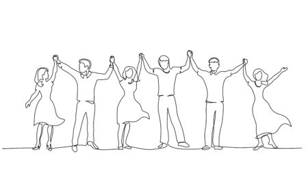 Continuous One line drawing. Happy couples group of women and men standing and holding hands up together. Vector illustration