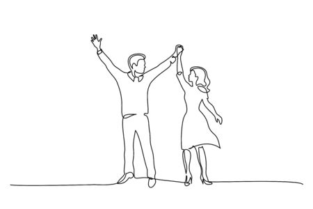 Continuous One line drawing. Happy couple standing and holding hands up together. Vector illustration 版權商用圖片 - 149866836