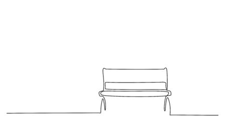 Bench in park near tree and lantern. Continuous One line minimalism style drawing. Vector illustration Vettoriali