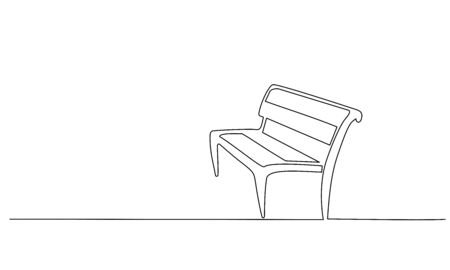 Bench in park. Continuous One line minimalism style drawing. Vector illustration