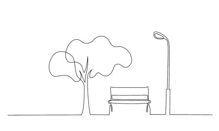 Bench in park near tree and lantern. Continuous One line minimalism style drawing. Vector illustration  イラスト・ベクター素材