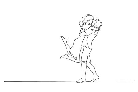 Continuous One line drawing. Happy couple hugging and kissing. Vector illustration