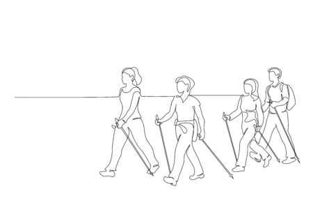 Continuous one line drawing. Group of people walks on foot with walking sticks. Nordic walking. Vector illustration. Black line art Stock Illustratie