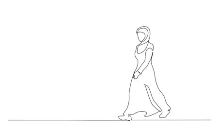 Muslim hijab strong woman walking. Continuous one line drawing. Vector illustration Vettoriali