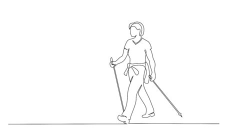Continuous one line drawing. Woman walks on foot with walking sticks. Nordic walking. Vector illustration. Black line art Vettoriali