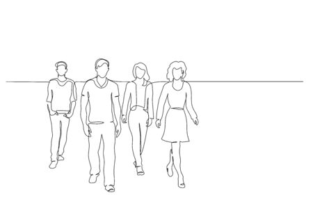 Continuous one line drawing. Walking group of people. Vector illustration Vettoriali