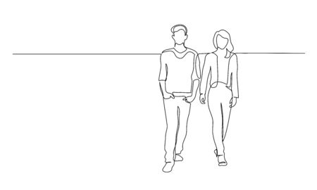 Continuous one line drawing. Walking couple man and woman. Vector illustration