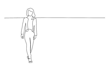 Continuous one line drawing. Walking woman. Vector illustration 版權商用圖片 - 150026109