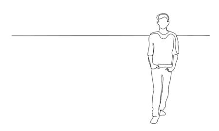 Continuous one line drawing. Walking man. Vector illustration 版權商用圖片 - 150026579