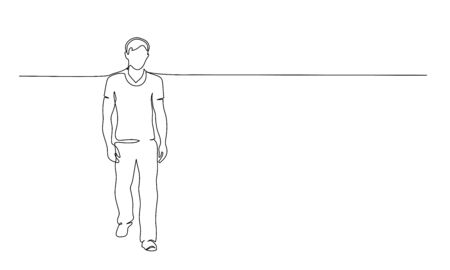 Continuous one line drawing. Walking man. Vector illustration