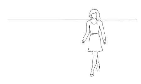 Continuous one line drawing. Walking woman. Vector illustration Vettoriali