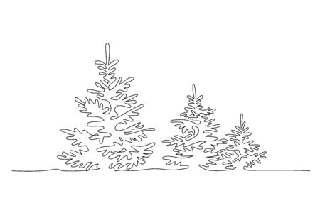 Pine fir trees in a forest. Continuous one line drawing. Vector illustration minimalistic design 版權商用圖片 - 150145926